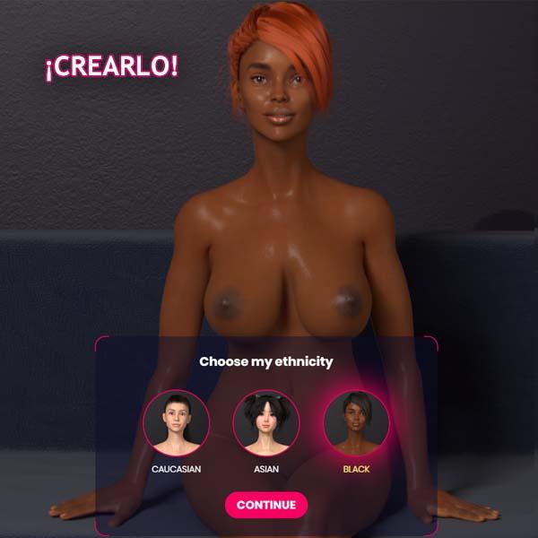Chica negra de un emulador sexual